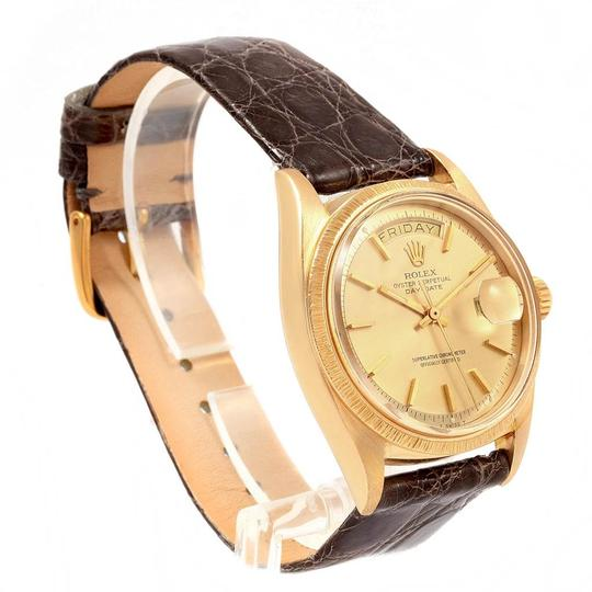 Rolex Rolex President Day-Date Yellow Gold Brown Strap Mens Watch 1807 Image 2