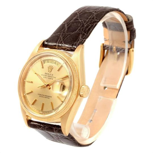 Rolex Rolex President Day-Date Yellow Gold Brown Strap Mens Watch 1807 Image 3