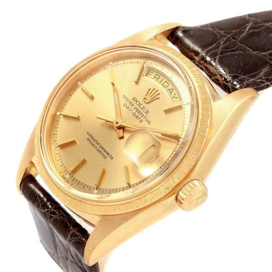 Rolex Rolex President Day-Date Yellow Gold Brown Strap Mens Watch 1807 Image 4