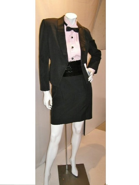 Just Female Classic Tuxedo Jacket Formal Suit Straight Pants Black Image 5