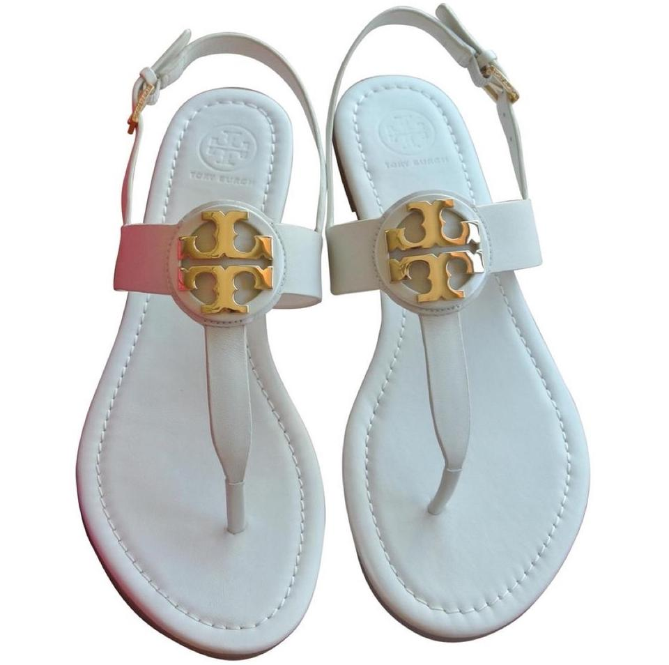 24ddbc61d Tory Burch White Flash-sale New Ivory Gold Bryce Flat Sandals Size ...