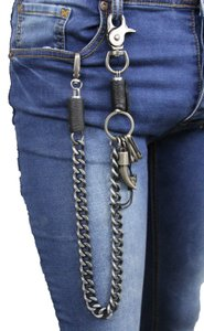 Alwaystyle4you Men Silver Metal Wallet Chunky Chain Links Skull KeyChain Horn Bull