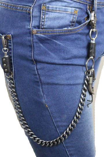 Alwaystyle4you Men Silver Metal Wallet Chunky Chain Links Skull KeyChain Horn Bull Image 10