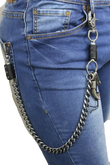 Alwaystyle4you Men Silver Metal Wallet Chunky Chain Links Skull KeyChain Horn Bull Image 9