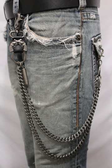 Alwaystyle4you Men Pewter Metal Wallet Chunky Chain Links Skull KeyChain Bullet Guns Image 10