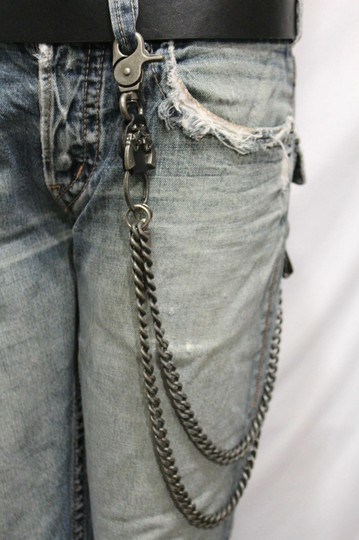 Alwaystyle4you Men Pewter Metal Wallet Chunky Chain Links Skull KeyChain Bullet Guns Image 8