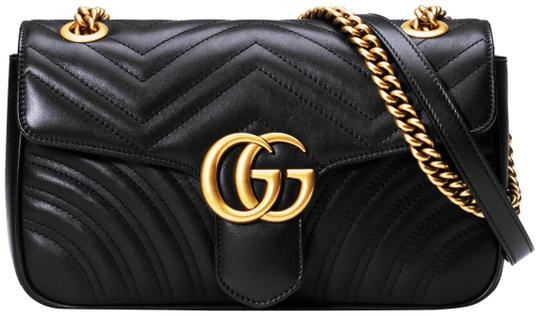 831dec3ab125 Gucci Marmont New Gg Small Black Leather Shoulder Bag - Tradesy