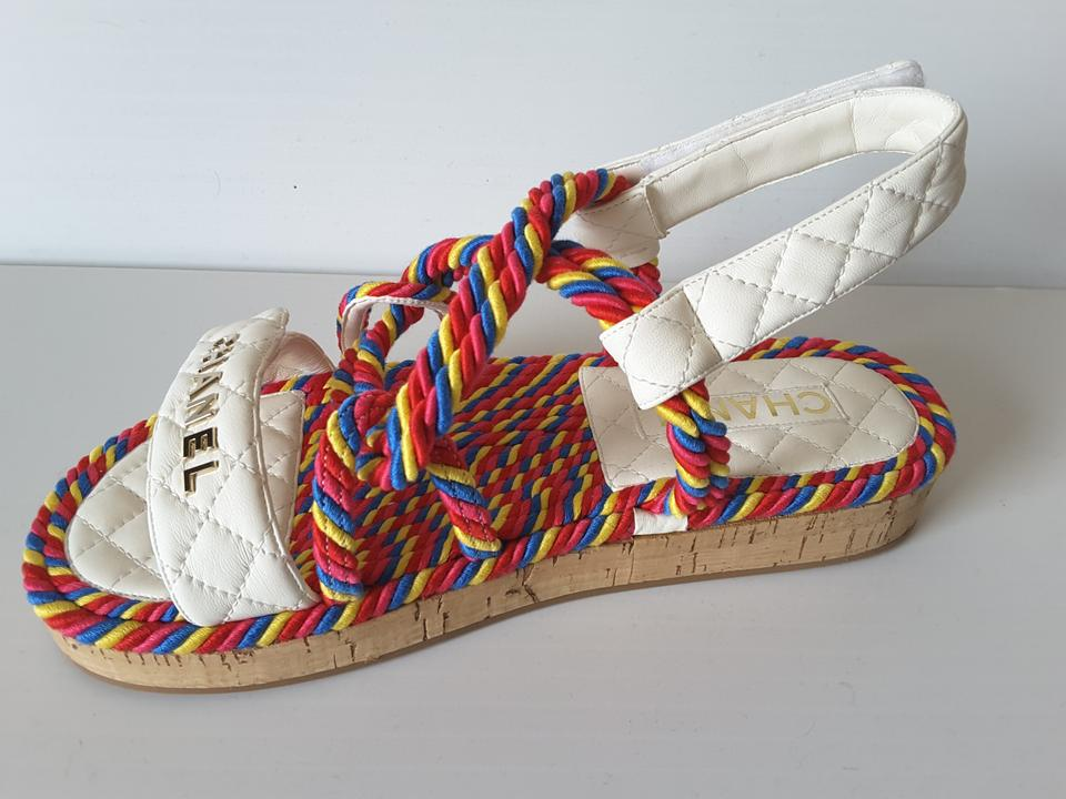 b7bbc9dd1 Chanel Multicolor Ivory Spring -summer 2019 Collection Cord Sandals ...