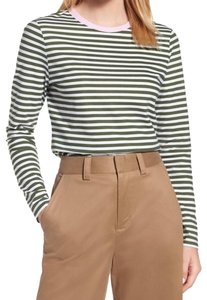 Nordstrom Contrast Crew Neck Long Sleeves Allover Stripes Wardrobe Staple Versatile T Shirt Multi