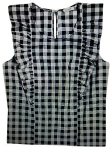 J.Crew Gingham Ruffle Sleeveless Summer '18 Top Deep Blue/Black and White