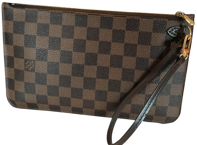 Item - Neverfull Pochette Damier Ebene Mm Gm Brown and Black with Red Interior Leather Wristlet