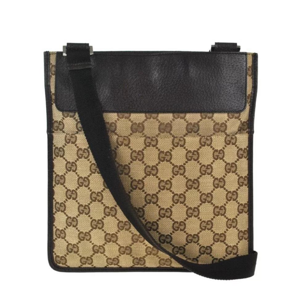 a67d5686 Gucci Shoulder Crossbody Webby Gg Vintage Brown Canvas Messenger Bag 59%  off retail