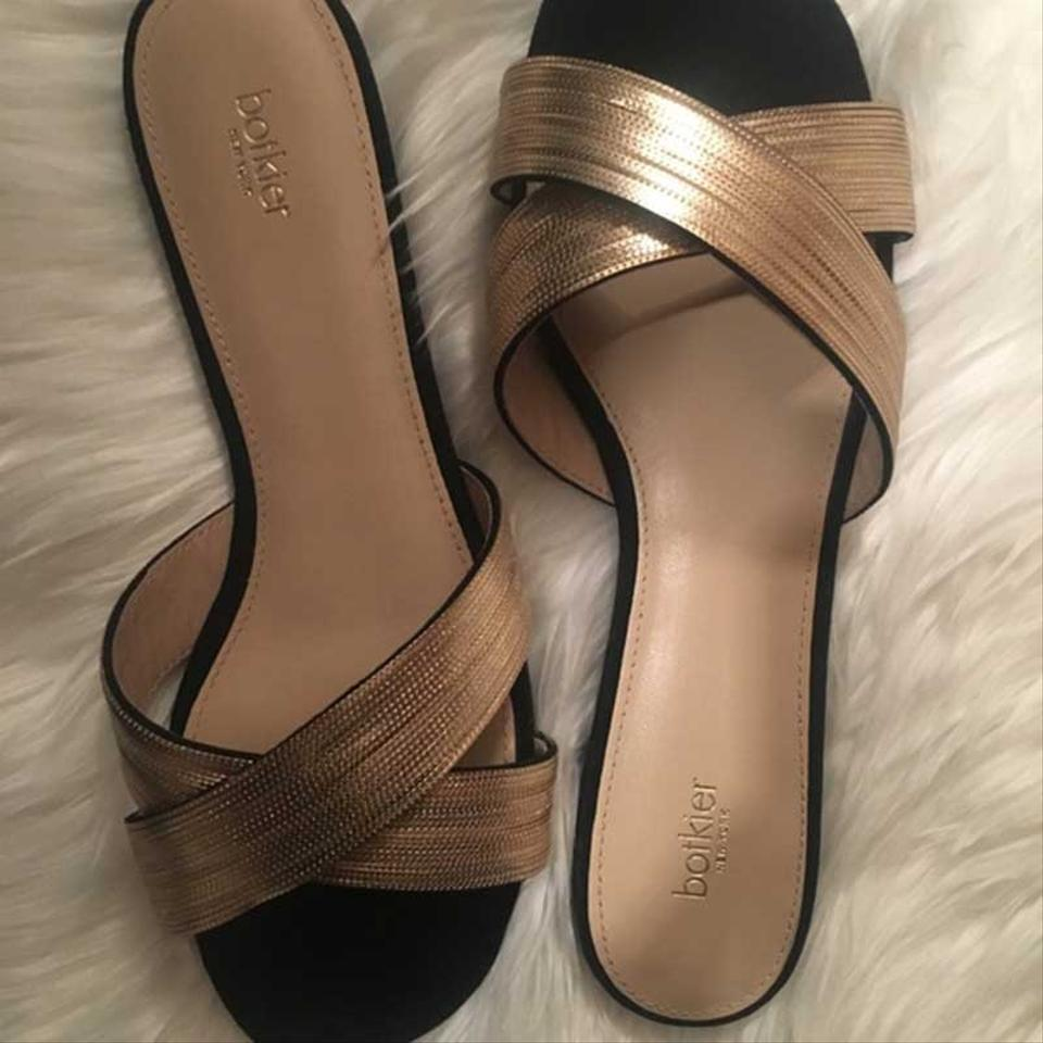2bf87a12a19e Botkier Black Gold Millie Cross Strap Slide Sandals Size US 8.5 ...