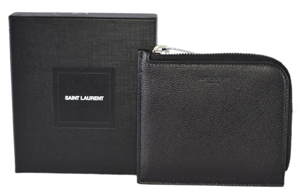 f160f7779730 Saint Laurent New Saint Laurent YSL RIDER 396277 Black Leather Zip Coin  Wallet Pouch ...