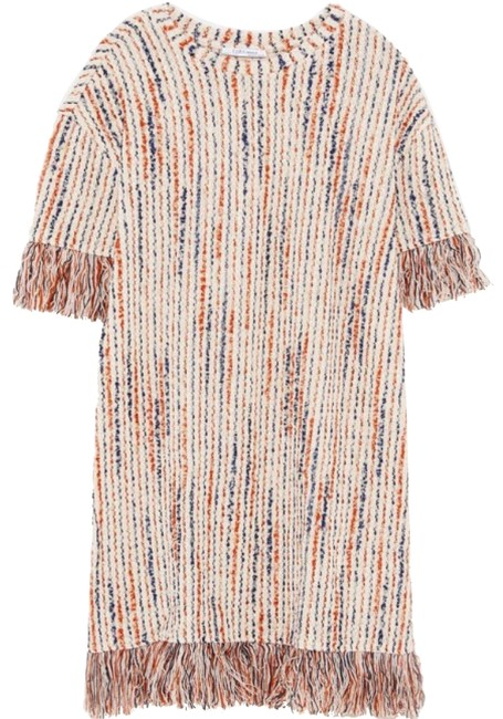 Item - Multicolor Fringe Jacquard Tweed Short Casual Dress Size 12 (L)