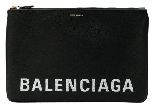 Preload https://img-static.tradesy.com/item/25029771/balenciaga-ville-logo-printed-pouch-black-leather-clutch-0-2-540-540.jpg
