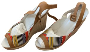 Hermès White, Tan, red, blue, yellow and black Wedges