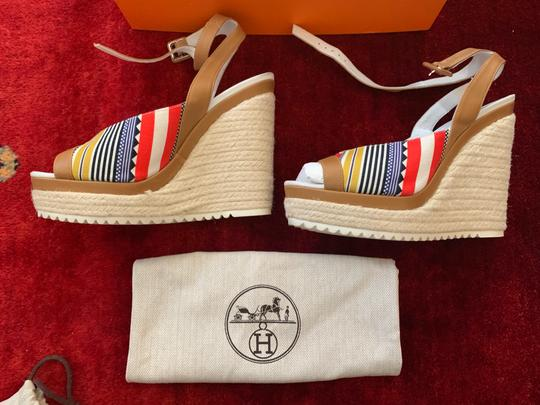 Hermès White, Tan, red, blue, yellow and black Wedges Image 1