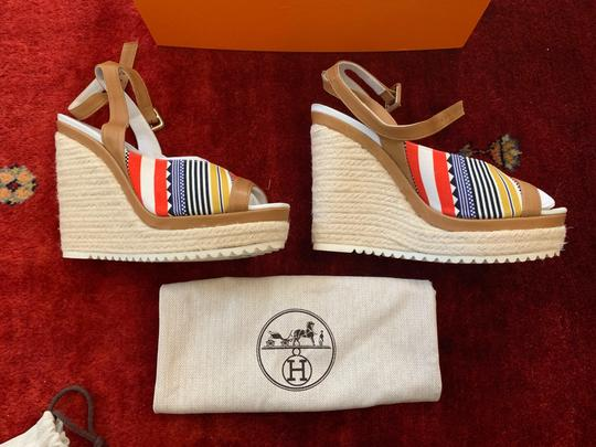 Hermès White, Tan, red, blue, yellow and black Wedges Image 2