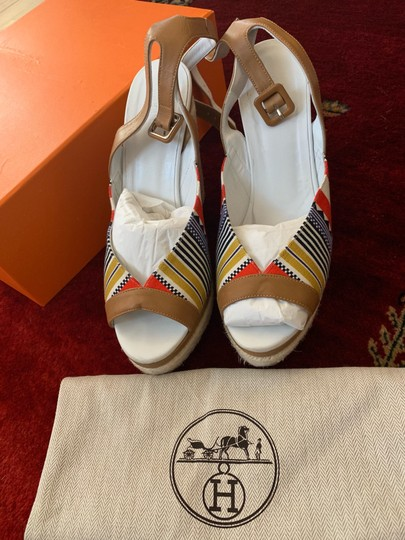 Hermès White, Tan, red, blue, yellow and black Wedges Image 4