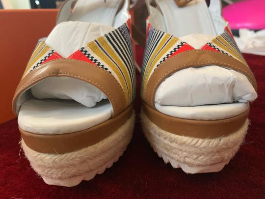 Hermès White, Tan, red, blue, yellow and black Wedges Image 5