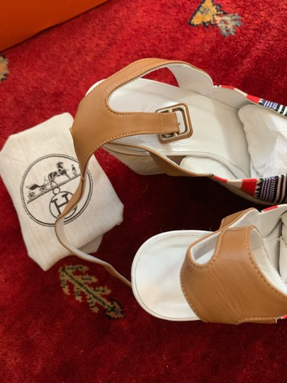 Hermès White, Tan, red, blue, yellow and black Wedges Image 8
