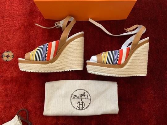 Hermès White, Tan, red, blue, yellow and black Wedges Image 9