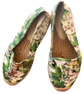 Dolce&Gabbana Pink cherry blossom with green background Flats