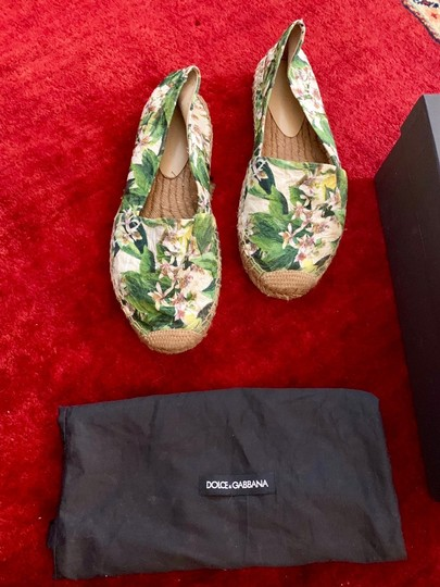 Dolce&Gabbana Pink cherry blossom with green background Flats Image 3