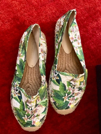 Dolce&Gabbana Pink cherry blossom with green background Flats Image 6