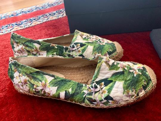 Dolce&Gabbana Pink cherry blossom with green background Flats Image 7
