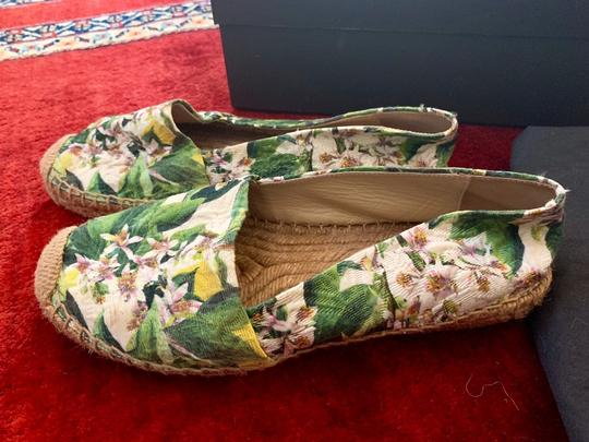 Dolce&Gabbana Pink cherry blossom with green background Flats Image 8