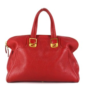 Fendi Bright Leather Gold Hardware Chic Tote in Red