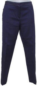 Salvatore Ferragamo Cotton Navy Designer Straight Pants Blue