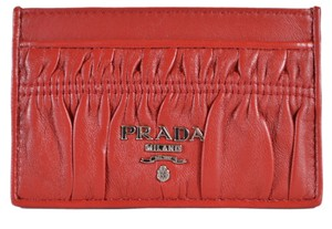 Prada New Prada Women's 1MC208 Fuoco Red Ruched Leather Card Case ID Wallet