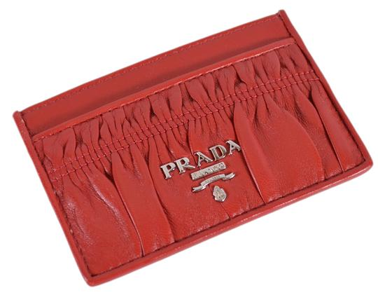 Prada New Prada Women's 1MC208 Fuoco Red Ruched Leather Card Case ID Wallet Image 1
