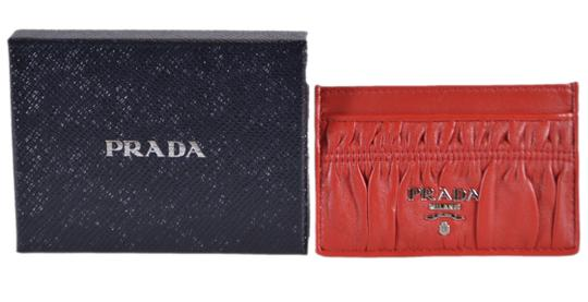 Prada New Prada Women's 1MC208 Fuoco Red Ruched Leather Card Case ID Wallet Image 2