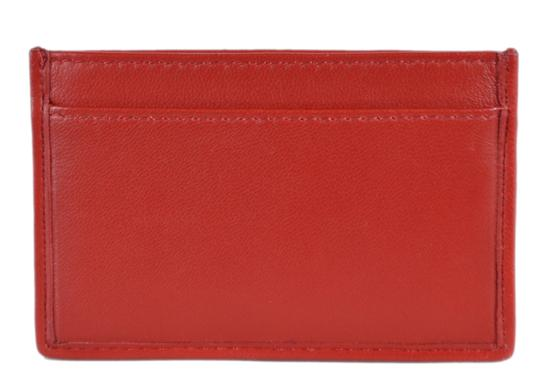 Prada New Prada Women's 1MC208 Fuoco Red Ruched Leather Card Case ID Wallet Image 4