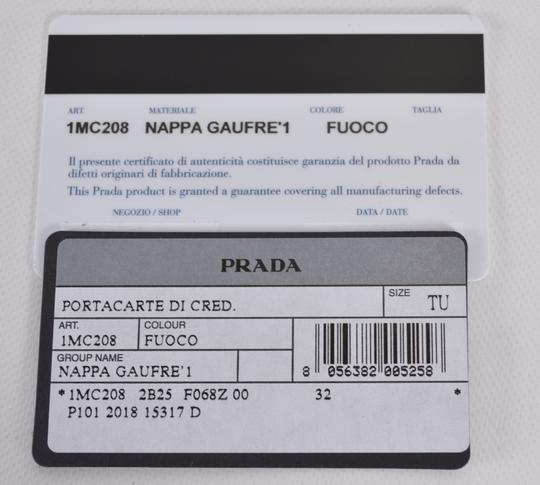 Prada New Prada Women's 1MC208 Fuoco Red Ruched Leather Card Case ID Wallet Image 5