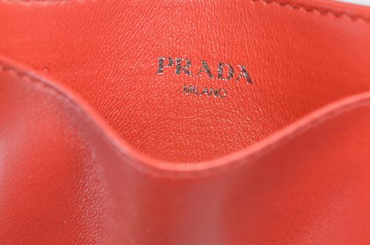 Prada New Prada Women's 1MC208 Fuoco Red Ruched Leather Card Case ID Wallet Image 6