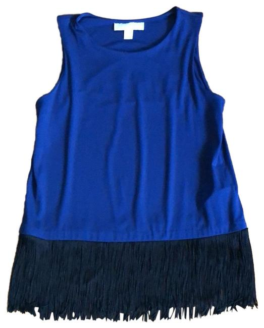 Preload https://img-static.tradesy.com/item/25030264/michael-michael-kors-black-fringe-hem-blue-top-0-1-650-650.jpg