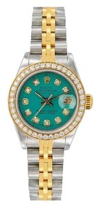 Rolex ROLEX LADY-DATEJUST 69173 26MM GREEN DIAMOND DIAL WITH 0.90 CT DIAMOND