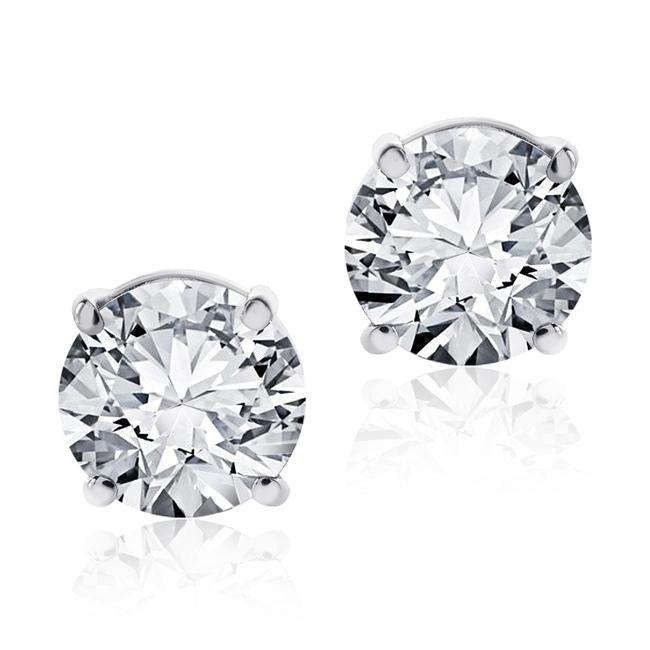Item - 14k White Gold 1.05 Carat Round Cut Diamond Stud F-g/Vs2 Si1 Earrings