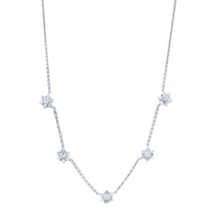 Gavriel's Jewelry Diamond Floral Station Chain Necklace 1.75cts White Gold