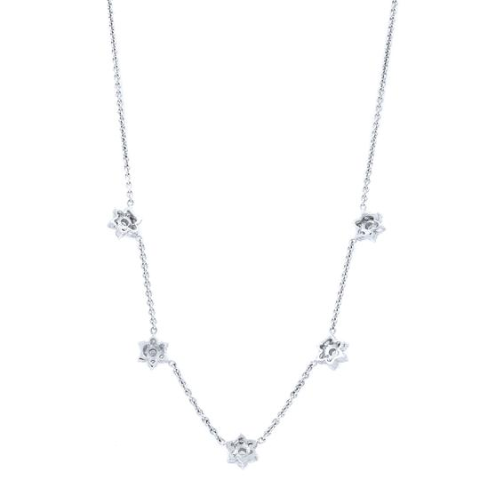 Gavriel's Jewelry Diamond Floral Station Chain Necklace 1.75cts White Gold Image 1
