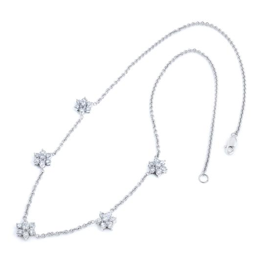 Gavriel's Jewelry Diamond Floral Station Chain Necklace 1.75cts White Gold Image 2
