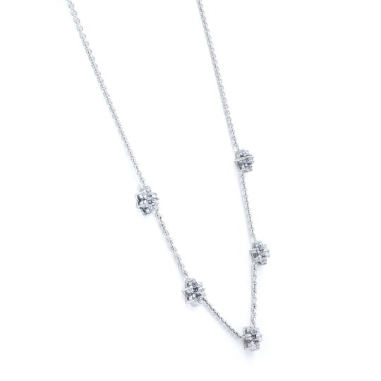 Gavriel's Jewelry Diamond Floral Station Chain Necklace 1.75cts White Gold Image 3