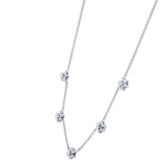 Gavriel's Jewelry Diamond Floral Station Chain Necklace 1.75cts White Gold Image 4