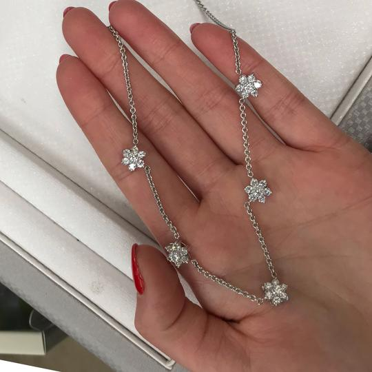 Gavriel's Jewelry Diamond Floral Station Chain Necklace 1.75cts White Gold Image 5