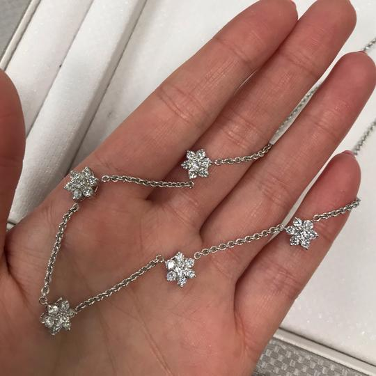 Gavriel's Jewelry Diamond Floral Station Chain Necklace 1.75cts White Gold Image 6